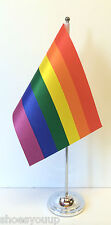 (LGBT movement) Gay Rights Satin Flag with Chrome Base Table Desk Flag Set
