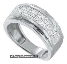 mens diamond wedding ring band .35-carats dress anniversary 925 white bling man