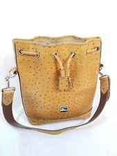 🇺🇸 DOONEY & BOURKE Ostrich Leather Shoulder Bag Drawstring Bucket Hobo Purse
