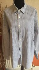 DESIGNER Men's Charles Tyrwhitt Slim Fit Weekend Blue/White StrIpe L/S Shirt XL