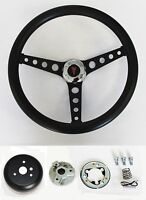 "GTO Firebird Lemans Tempest Bonneville Black on Black Steering Wheel 14 1/2"""