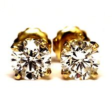 14k yellow gold 1.51ct SI3-I1 G round diamond stud earrings 1.6g screwbacks