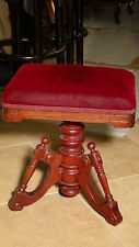 "ANTIQUE PIANO,ORGAN STOOL WALNUT ""PAT.MAY 6.1873.SWIVEL SEAT VELVET UPHOLSTERY"