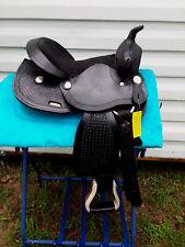 """12"""" Black Tooled Leather Western Youth Saddle Mini Miniature Horse Pony"""