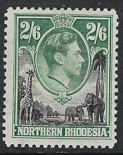 NORTHERN RHODESIA : 1938 GVI 2/6d black and green    SG41 mint