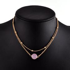 ❤️Necklace 9ct Gold Over Round Rose Quartz ❤️ Pendant Gift UK FREE Post Silver❤️