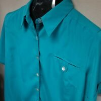 TravelSmith Women's Teal Button Up Roll-Tab Sleeve Shirt Blouse Size XPL