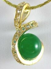 Fasin 18K Gold Plated Green Jade Sea Shell Pearl Pendant Necklace Ladies Jewelry
