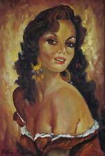 Renzo Bellini/ Italian artist/ Realism oil on Canvas/ Gypsy / Zingara / antique
