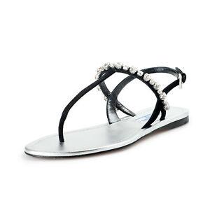Prada Women's Black Beaded Suede Leather Sandals Shoes Sz 8 8.5 9.5