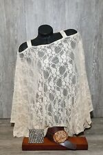 Cream Lace Loose Tunic Batwing Top,Maxi Top, Plus Size Top.
