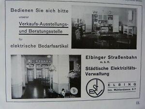 Reklame 1932 Elbing ESTV Elektrizität ESTV Schlachthof Orgelbau Wittek #248