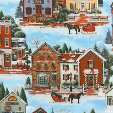 Country Christmas in the Village Kaufman Quilt Fabric by the 1/2yd