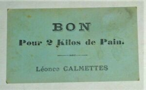 Bon de pain. Boulangerie L. Calmettes ( Aveyron). Bread ticket. No token.