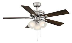 NEW HAMPTON BAY Sinclair II 44 in. Indoor Brushed Nickel LED Ceiling Fan with Li