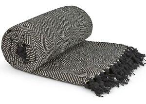 100% Cotton Herringbone Black & White Fringed Tassel Chair Bed Sofa Medium Throw