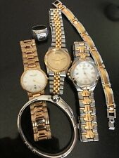 Vintage Mens Watch Lot Seiko Perpetual Town & Country Exxon Mobil Jewelry 6 Pc