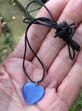 BLUE CATS EYE CRYSTAL POLISHED HEART PENDANT ON NECKLACE CORD BAG & ID CARD