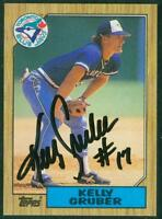 Original Autograph of Kelly Gruber of the Blue Jays on a 1987 Topps Card