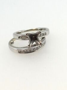 Wedding Set Semi Mount With Diamonds In 14k White Gold - Collection #9908