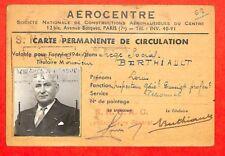 """BILLANCOURT """" STE NLE DE CONSTRUCTIONS AERONAUTIQUES DU CENTRE """" CARTE 1944"""