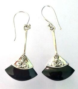 Solid 925 Sterling Silver Jewelry Black Onyx Gemstone Handmade Gift Hoop Earring