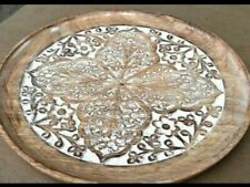 Carved wooden decorative Indian platter bowl dinnerware decor handmade FREE POST