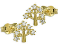 ECHT GOLD ***  Kleine Zirkonia Ohrstecker Baum Lebensbaum 8 mm