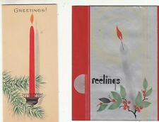 Christmas Cards Greetings Candles Gibson Lot of 2 Vintage 1940-50s Scrapbooking