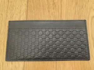 Authentic GUCCI Black Guccissima Leather Flat Felicie Wallet Card Holder