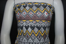Rayon Stretch Jersey Knit Fabric  Beautiful  Tribal Print black/white/yellow