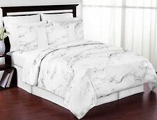 Modern Neutral Sweet Jojo Grey Marble Black & White Full Queen Size Bedding Set