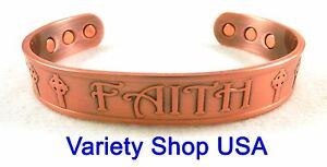 "'Faith' Pure Copper 1/2"" Wide Religious Magnetic Adjustable Cuff Bracelet"