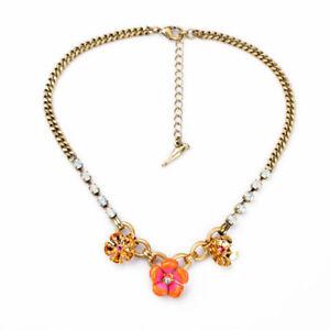 NEW Urban J CREW Enamel Flower range Pink Popout Rhinestone Gold Necklace