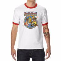 Men Ringer T-Shirts Devil's Music Print Funny Graphic Shirt Short Sleeve Top Tee