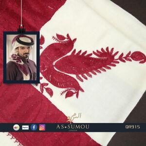 OFF WHITE EMBROIDERED YEMENI SHEMAGH ARAB HEADSCARF ISLAMIC SHAWLQATARI QA915