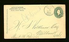 Alva E. Taylor, Attorney at Law, Huron, SD - To H.S. Volkmar, Milbank - 1890