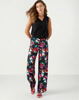 "PURE COLLECTION Dark Floral Wide Leg Trousers UK 16 NWT £110 Relaxed Summer 30""L"