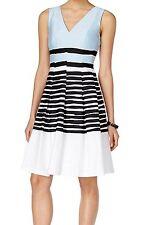 2372 Anne Klein Womens Blue Black White Striped V-Neck Sheath Dress Sz 16 $129