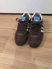 Addidas Brown With White Stripe Suede Trainers Size 4.5