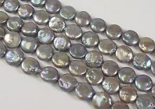 11 to 12 mm Mauve Gray Coin Freshwater Pearl Beads, Flat Coin Pearls (#92)