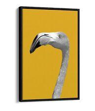 FLAMINGO HEAD YELLOW MUSTARD -FLOAT EFFECT CANVAS WALL ART PIC PRINT