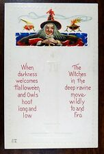 RED WITCH SMILES DARKNESS WELCOMES HALLOWEEN Nash H-23 Fantasy Postcard c1910