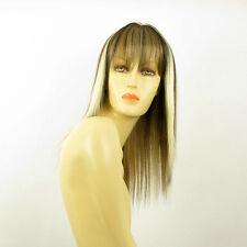 Perruque femme mi-longue méchée blond clair méché cuivré chocolat ABBY 15613H4