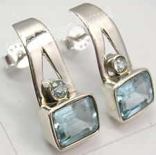 925 Sterling Silver Fiery CUT BLUE TOPAZ AMAZING UNISEX Studs Earrings 0.8""