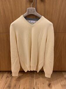 Brunello Cucinelli Men's Yellow Cashmere V Neck Sweater IT52 Slim RRP £575 🇮🇹