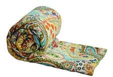 Indian Handmade Kantha Quilt Vintage Bedspread Throw Cotton Blanket Gudari Twin