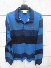 Polo LACOSTE Devanlay Slim Fit bleu rayé marine noir manches longues 8