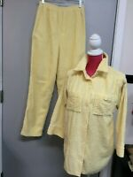 Small LEISURE LIFE Vintage Chenille Pajamas Yellow Pants Shirt Cozy Soft 8-296-3
