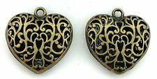 2 PEWTER ANTIQUED BRONZE LEAD FREE FILIGREE HEART PENDANT CF817